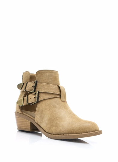 So Strapping Faux Nubuck Cut-Out Boots