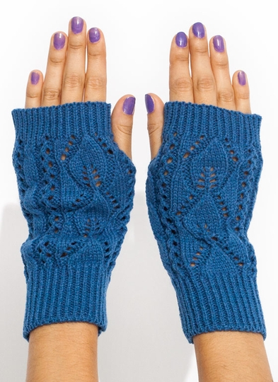 Solid Cable Knit Fingerless Mittens