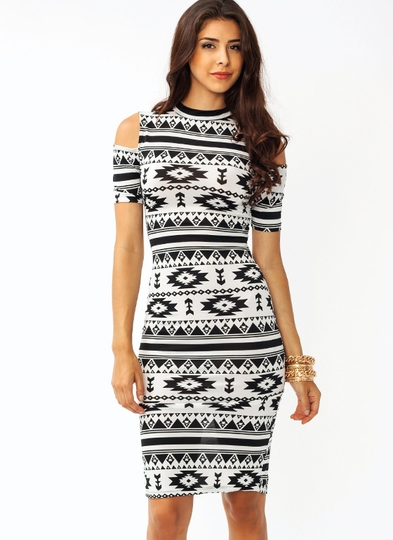 Southwestern Cold Shoulder Dress