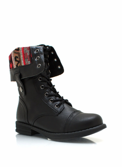 Southwestern Lace-Up Combat Boots