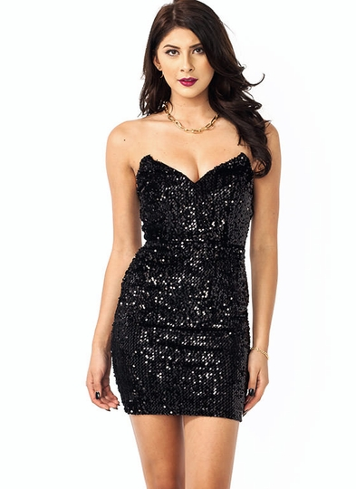Sparkle Sweetheart Sequin Tube Dress