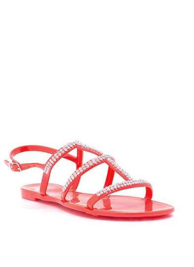 Sparkly Ladder Strap Jelly Sandals