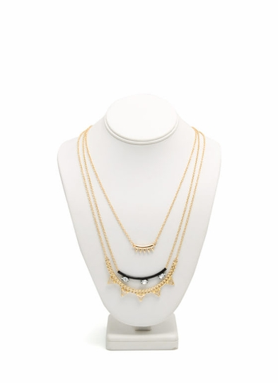 Spike N Stud Layered Necklace