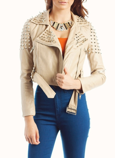 Spike Stud Faux Leather Motorcycle Jacket