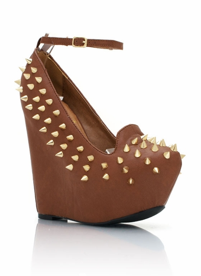 Spiked Ankle Strap Wedges
