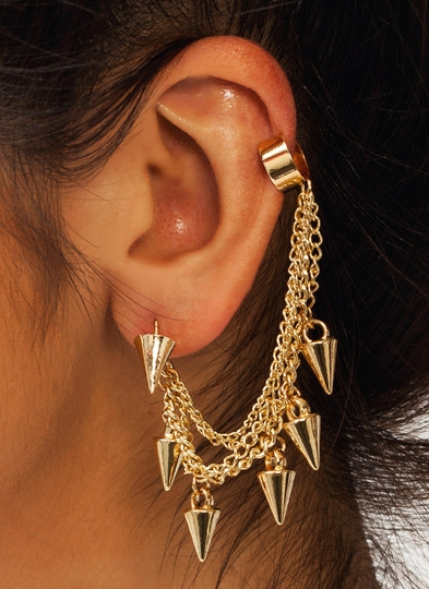 Spiked Chain Cuff Earrings