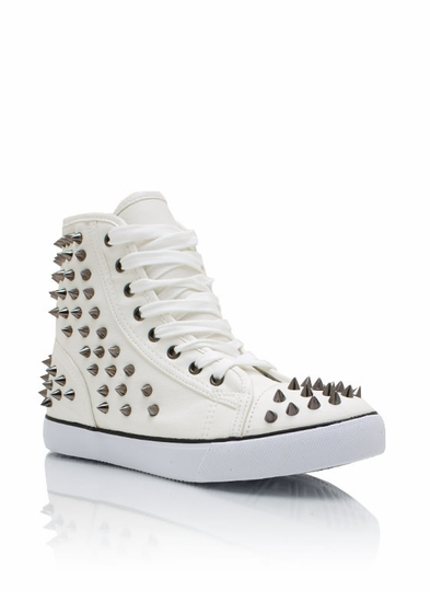Spiked Faux Leather Sneakers
