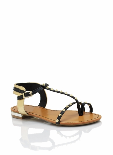 Spiked Metallic Contrast Sandals