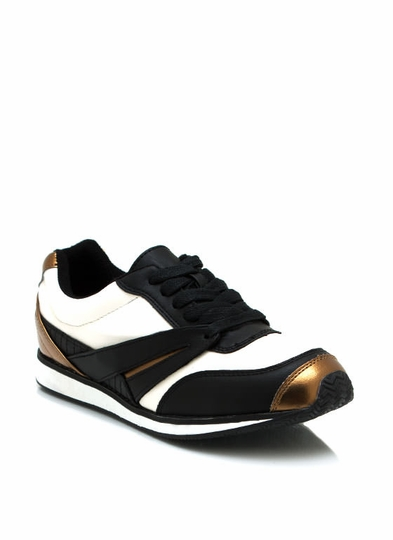 Sporty Faux Leather Sneakers