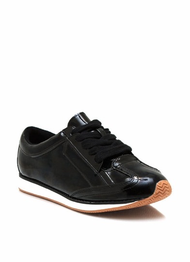 Sporty Faux Patent Sneakers