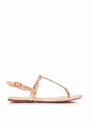 Square Off Shiny T-Strap Sandals