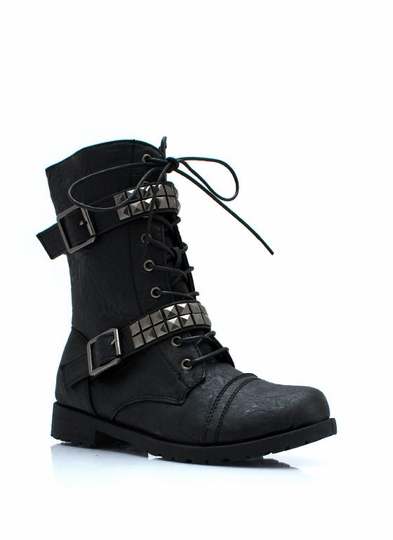 Square Off Studded Combat Boots