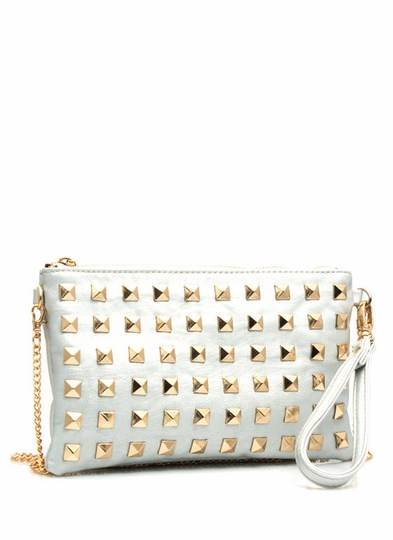 Squared Away We Go Studded Clutch