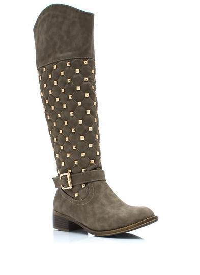 Squared Pyramid Stud Riding Boots