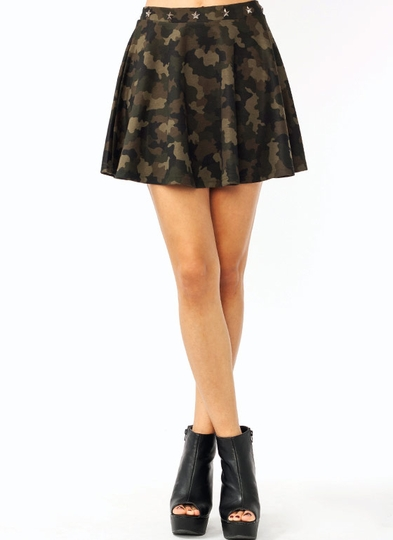 Star Studded Camo Skirt