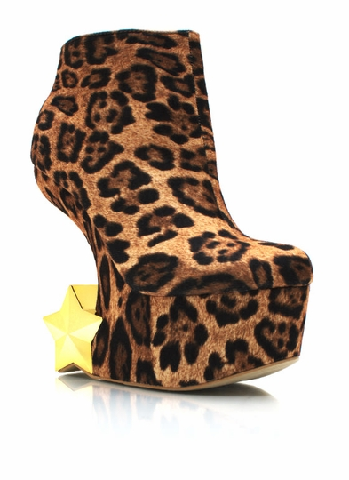 Starred Leopard Curved Back Wedges
