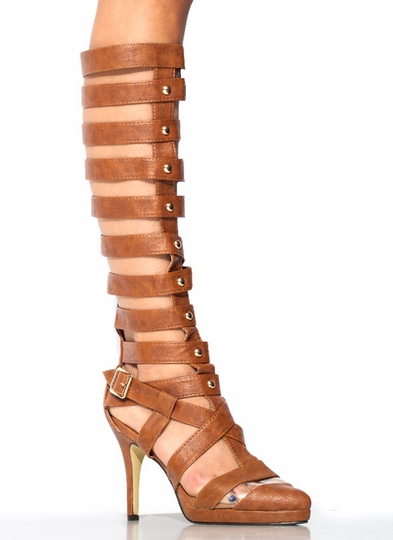 Strap Star Textured Gladiator Heels