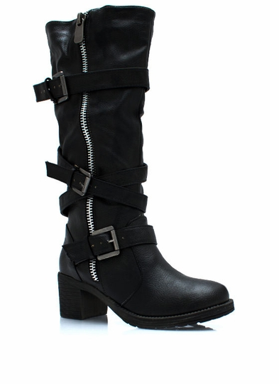 Straparound And Round Buckled Boots