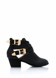 Straparound Cut-Out Buckle Boots