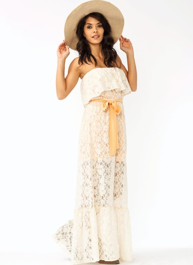 Strapless Belted Lace Maxi Dress