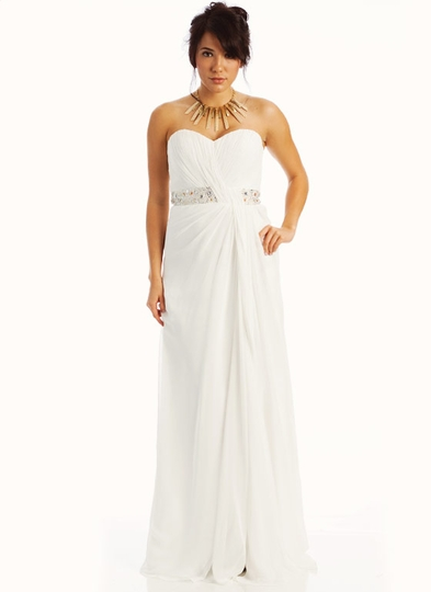 Strapless Embellished Empire Waist Formal