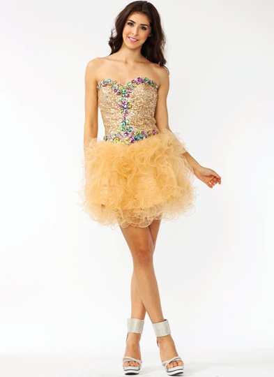 Strapless Embellished Sequined Formal