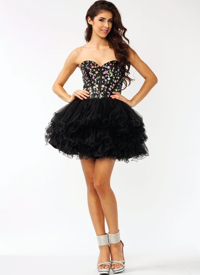 Strapless Embellished Tulle Formal