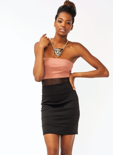 Strapless Mesh Bodycon Dress