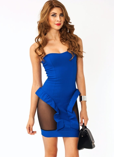 Strapless Mesh Ruffle Dress