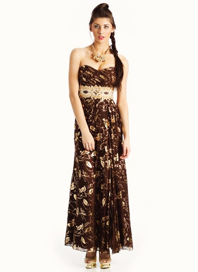 Strapless Pleated Metallic Rose Formal