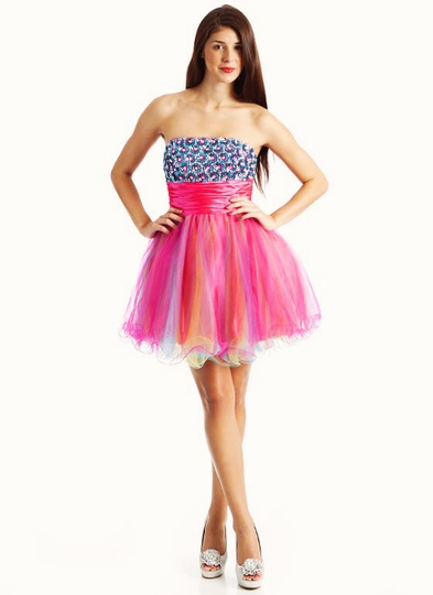 Strapless Sequin Tulle Cocktail Formal