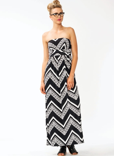Strapless Zigzaggy Maxi Dress