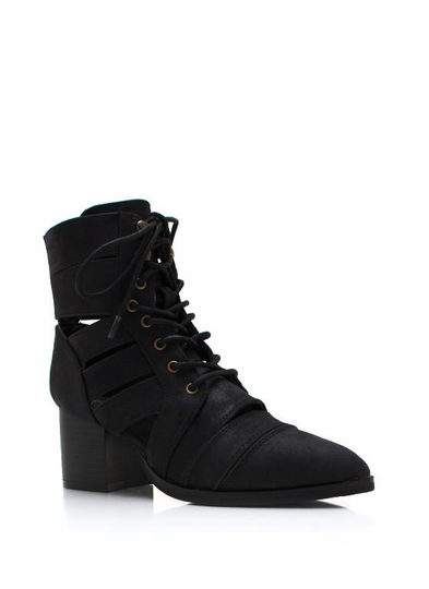 Strapped In Faux Leather Boots