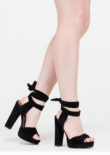 Strapped In Tied Chunky Peep-Toe Heels