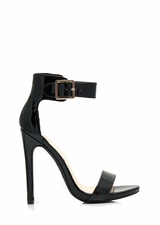 Strapped On Faux Patent Heels