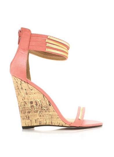 Strappy Ankle Cuff Cork Wedges