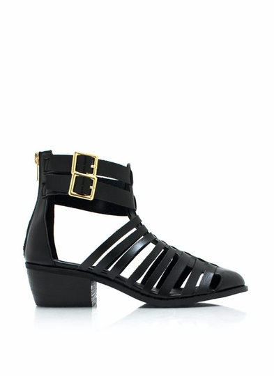 Strappy Cut-Out Ankle Boots