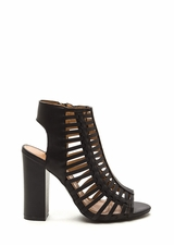 Strappy Day Chunky Faux Leather Heels
