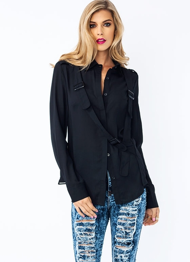 Strappy Endings Button-Up Blouse