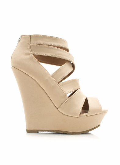 Strappy Faux Nubuck Wedges