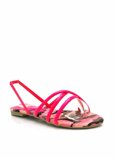 Strappy Faux Patent Leather Sandals