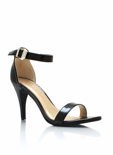 Strappy Faux Patent Single-Sole Heels