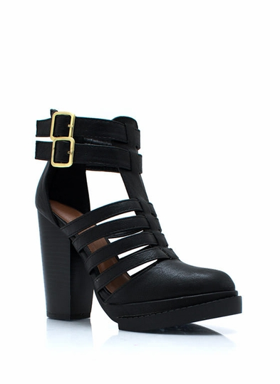 Strappy Go Lucky Chunky Booties