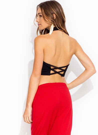 Strappy Lace Halter Top