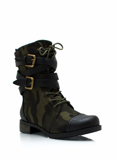 Strappy Lace-Up Camo Boots