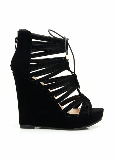 Strappy Lace-Up Platform Wedges