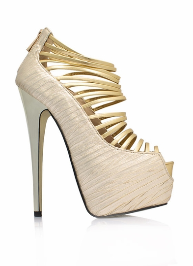 Strappy-Go-Lucky Crinkled Metallic Heels