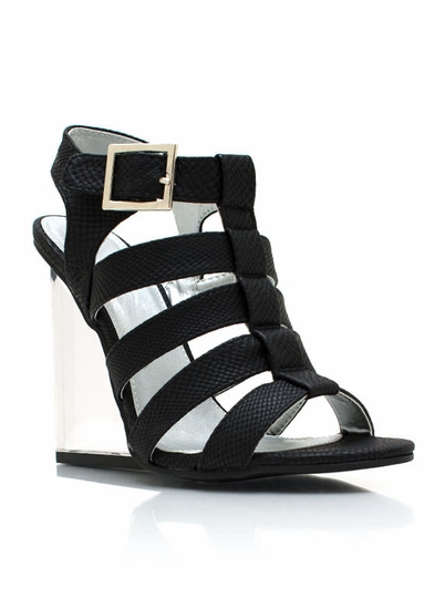 Strappy Reptile Lucite Wedges