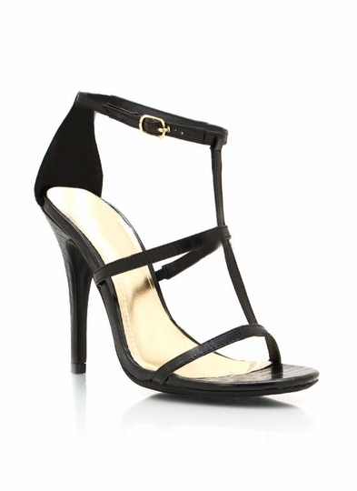 Strappy Single-Sole Reptile Heels