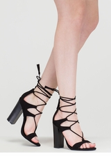 Strappy Starlet Chunky Lace-Up Heels